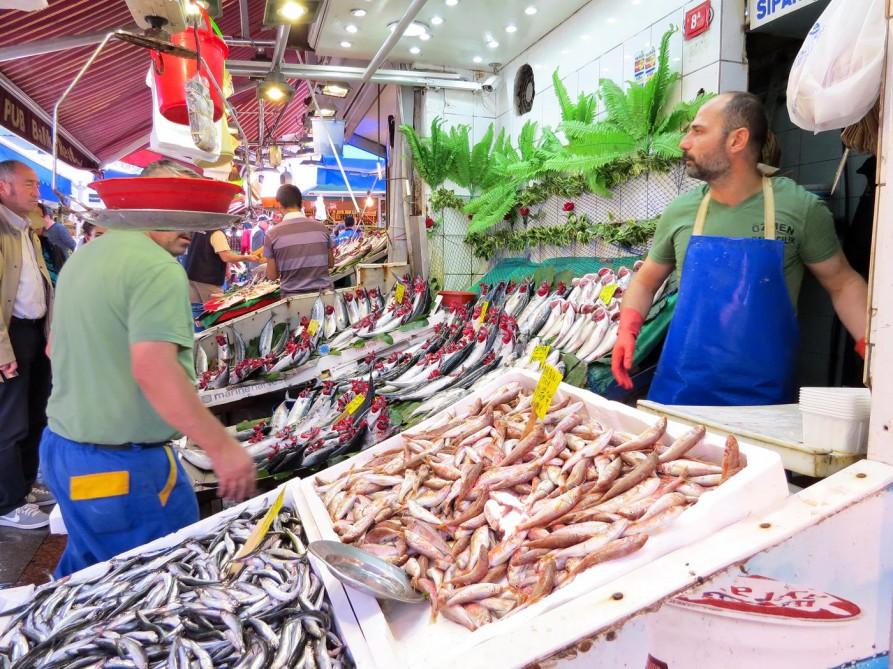 Fischtheke, Markt, Kadiköy, Istanbul