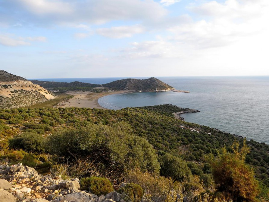 sandige Mittelmeerbucht, der Lykische Weg, Türkei