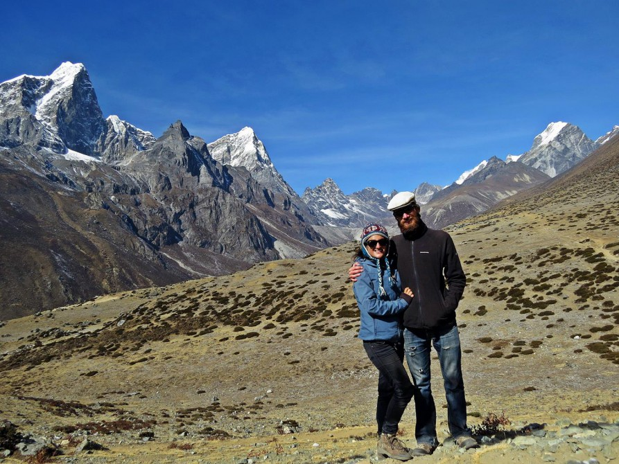 Bergpanorama, Taboche, Cholatse, Everest Base Camp Trek, Himalaja