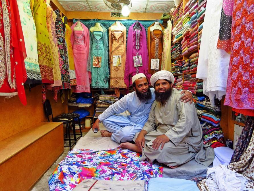 Stoffhändler in Lahore
