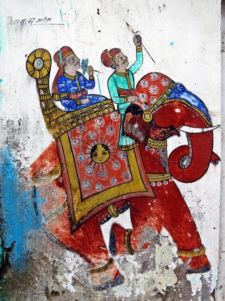Wandbild, Bundi, Rajasthan, Indien