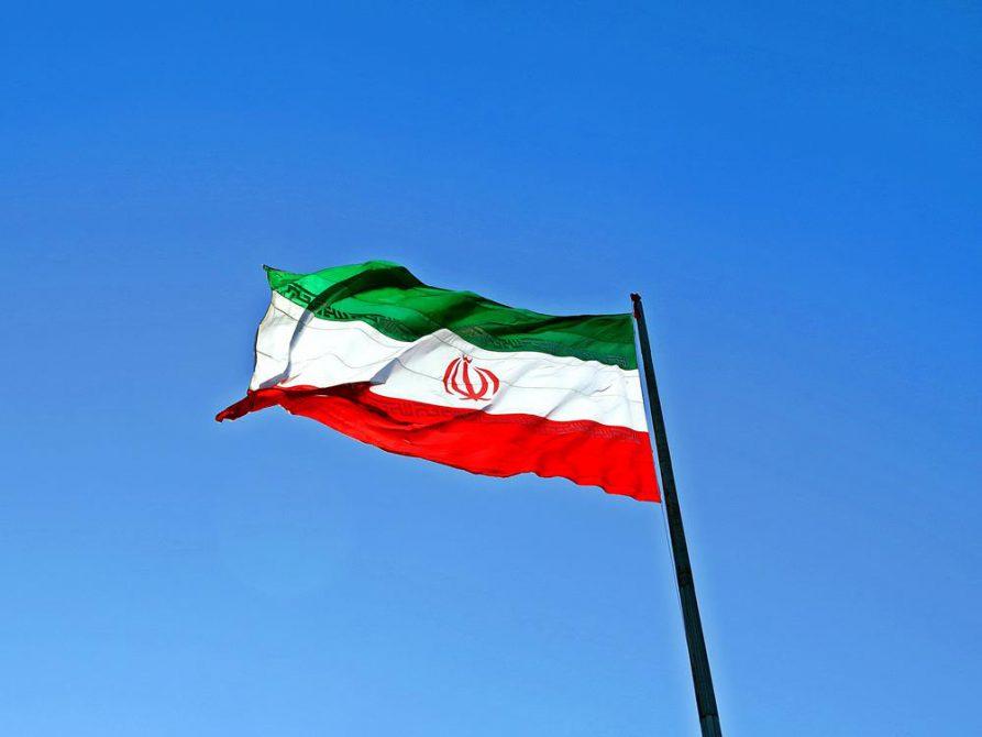 iranische Flagge im Wind