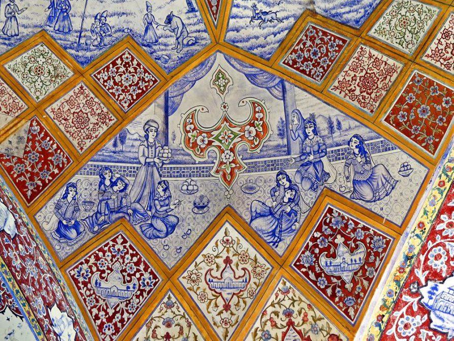blaue Deckenzeichnungen, Fin-Garten, Kashan, Iran