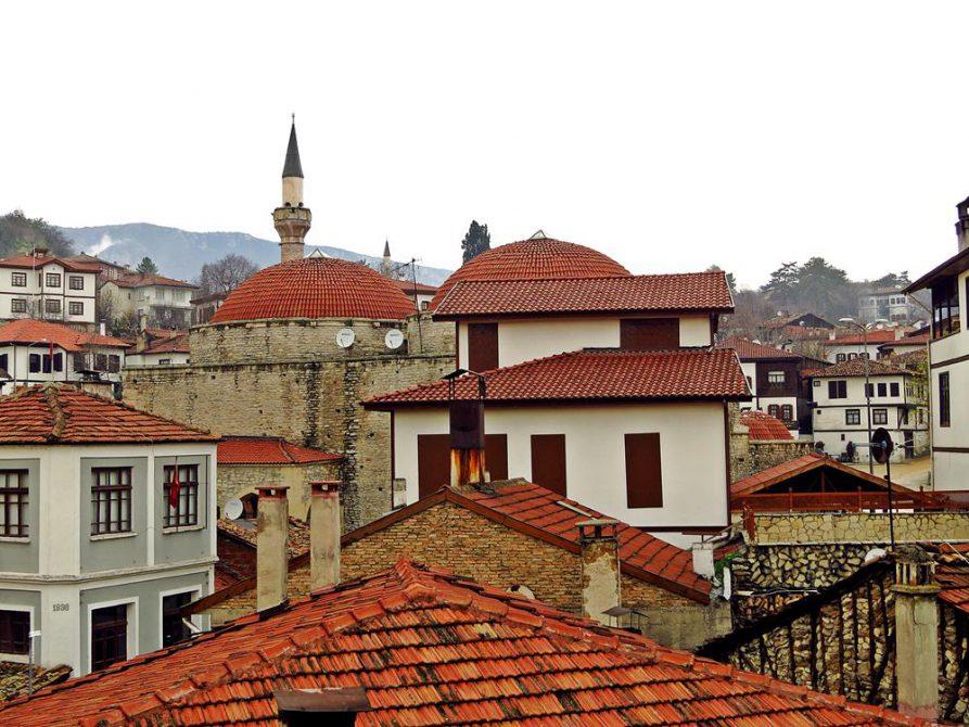 rote Ziegelsteindächer überragen die historische Stadt