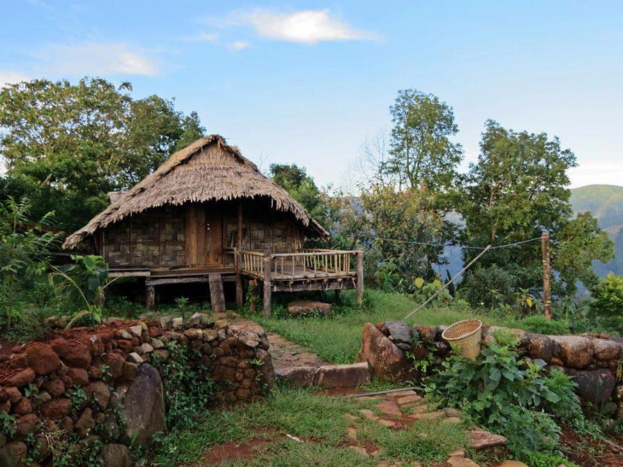 Wohnhütte in Kongthong, Meghalaya, Indien