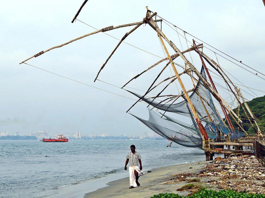 Indien, Kuriositäten, Fischernetze, Strand