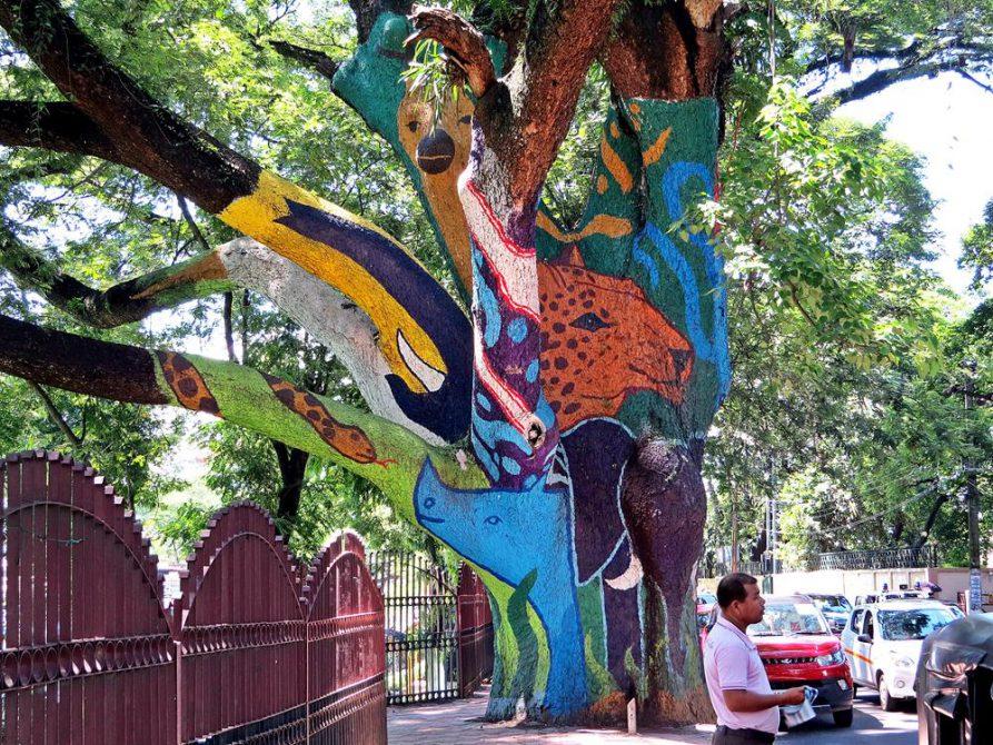 buntes Graffiti am Baum in Guwahati, Assam