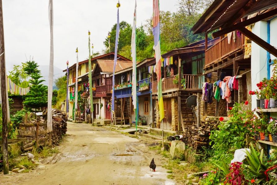 malerische Wohnhäuser, Sangti, Arunachal Pradesh