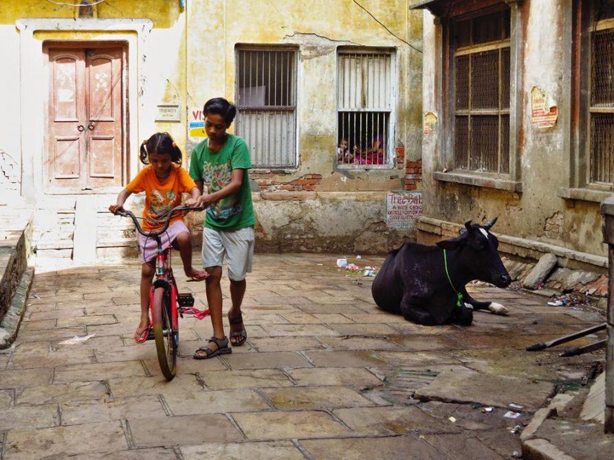 Kinder auf Fahrrad, Altstadt, Varanasi
