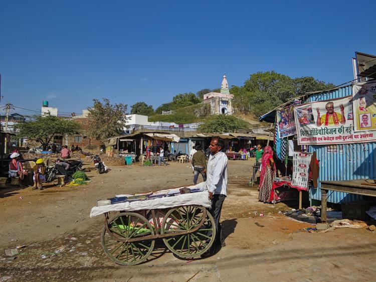 Mann mit Karre in Pushkar