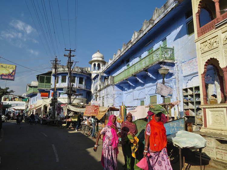Marktstraße in Pushkar, Rajasthan