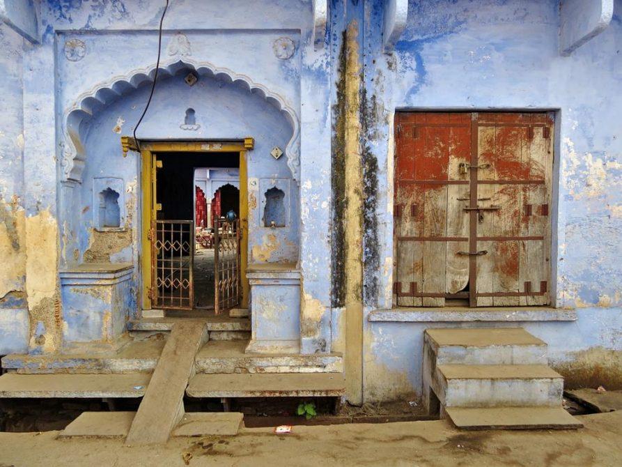 blaue Fassade, Bundi, Rajasthan, Indien