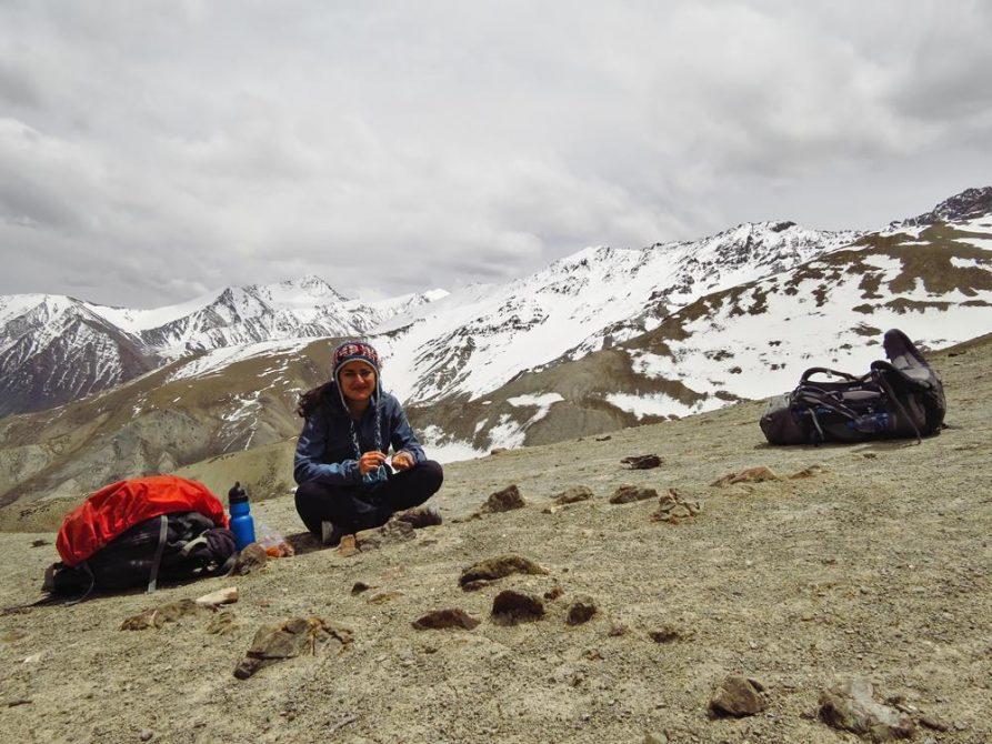 Wanderin im Hochgebirge, Markha, Ladakh, Indien