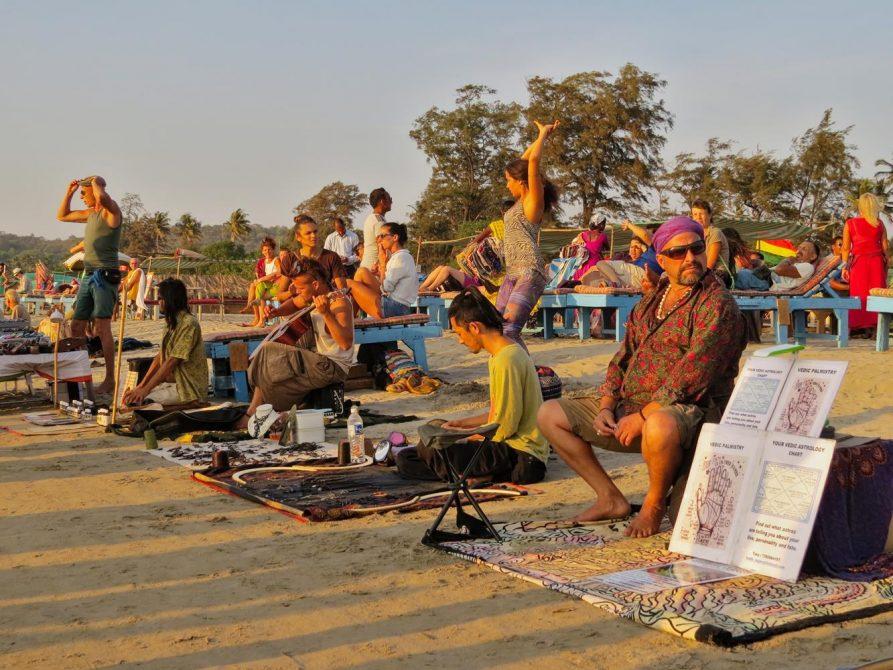 Hippiemarkt in Arambol, Goa, Indien