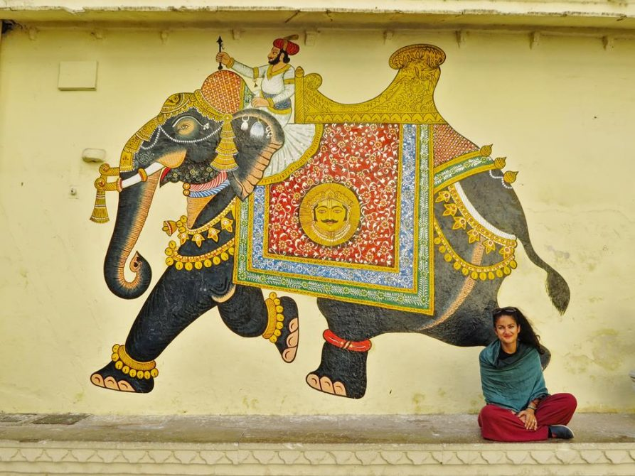 Wandbild, Udaipur, Rajasthan