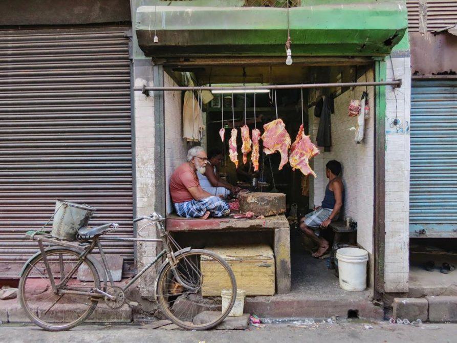 Fleischverkäufer, Kolkata, Indien