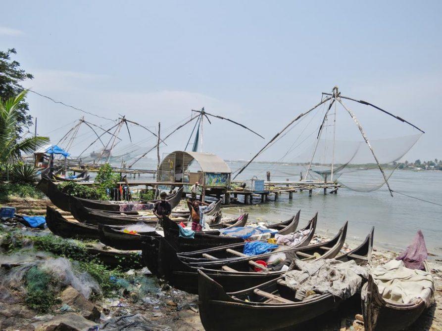 chinesische Fischernetze, Kochi, Kerala, Indien