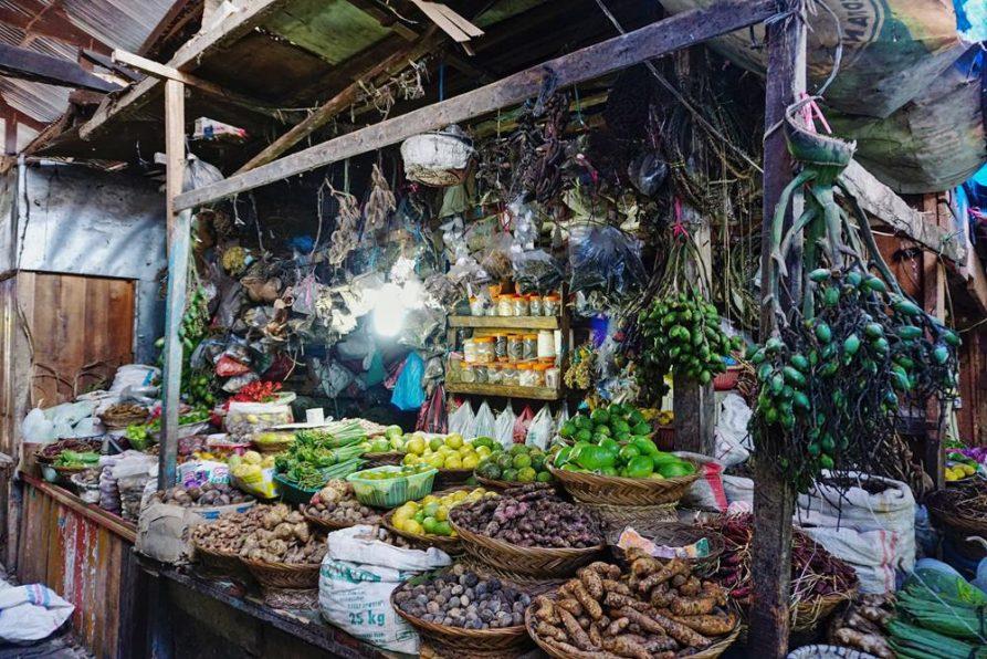 Wurzeln und Kräuter auf dem Markt, Bukittinggi, Sumatra, Indonesien