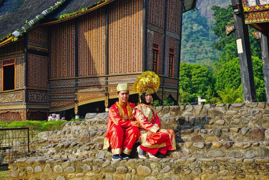 traditionelle Kostüme, Königspalast, Pagaruyung, Minangkabau, Sumatra
