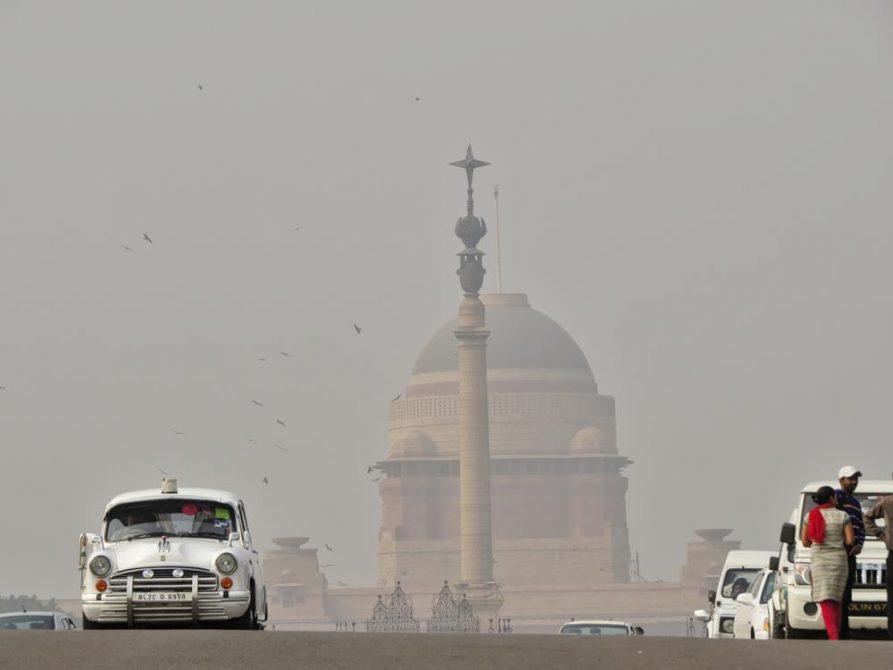 Rashtrapati Bhavan, Smog, Delhi, Indien
