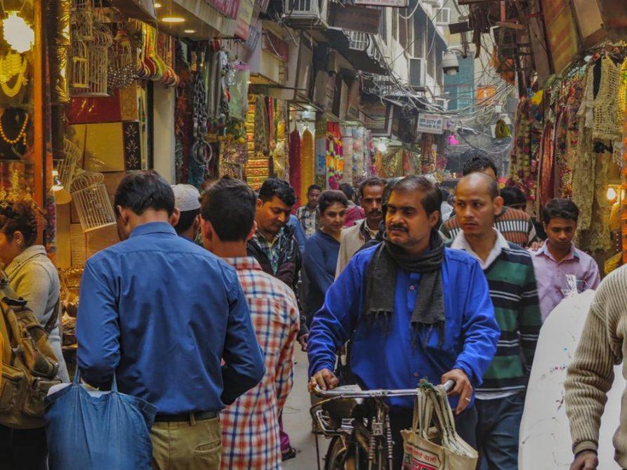 Gasse in Old Delhi, Indien