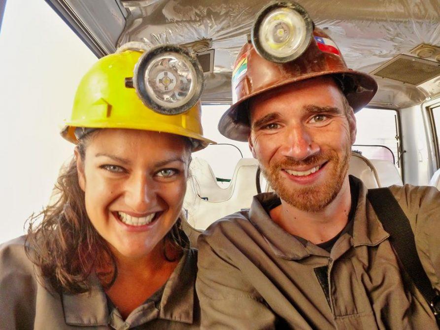 Paar mit Helm und Stirnlampe, Potosi