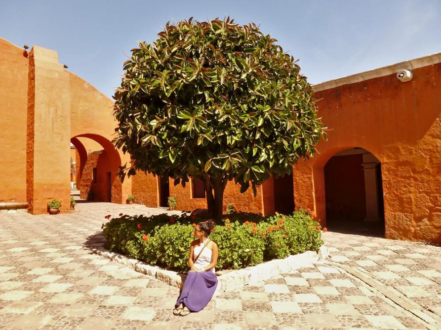 junge Frau vor Orangenbaum im Kloster Santa Catalina, Arequipa, Peru