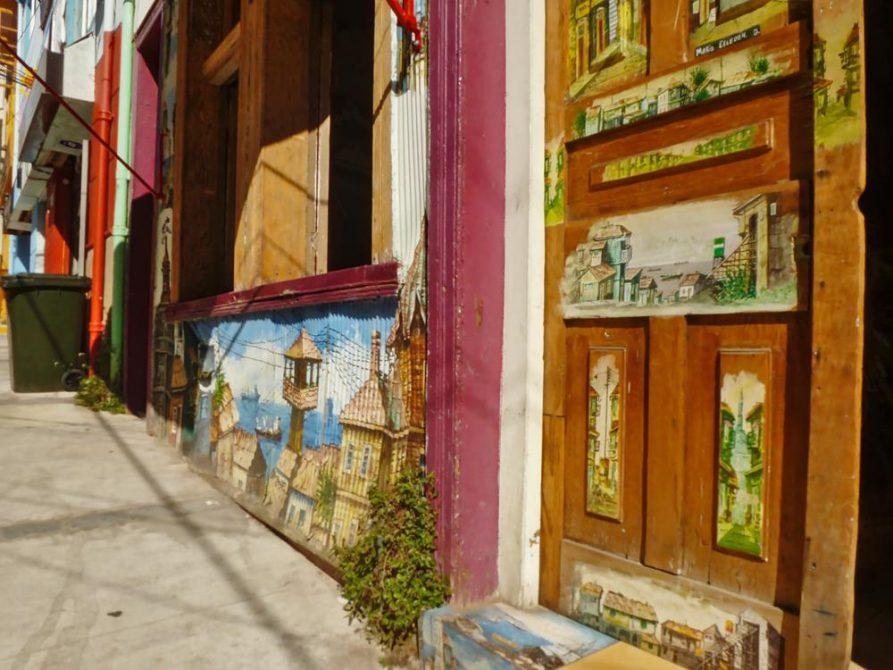 bemalte Hausfront, Valparaiso, Chile