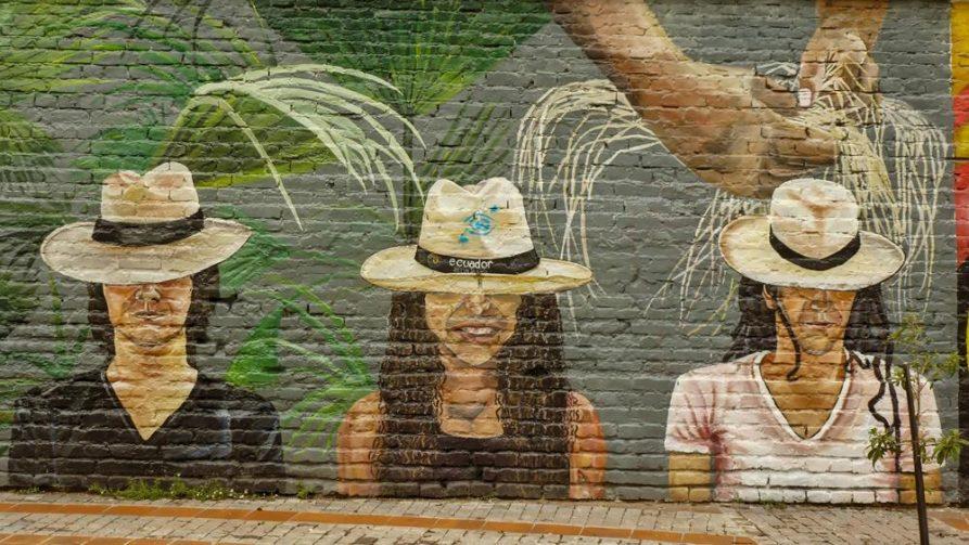 Wandbild, Panamahut, Cuenca, Ecuador