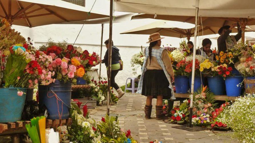 Blumenmarkt in Cuenca, Ecuador
