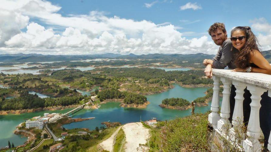 Aussicht auf den Stausee, El Peñol, Kolumbien