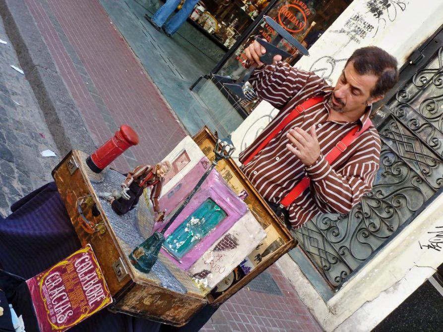 Marionettenspieler in San Telmo, Buenos Aires, Argentinien